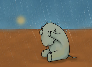 hippo raining sad